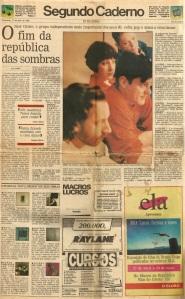 """Segundo Caderno, """"O Globo"""", 27/04/1993."""